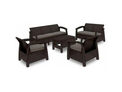 Set mobilier de gradina Curver Corfu Triple Max Maro inchis/ Taupe
