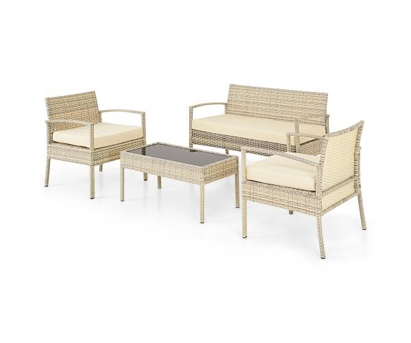 Set mobilier gradina Bilbao - capanapea + doua fotolii + o masuta de cafea  Alb/ Gri