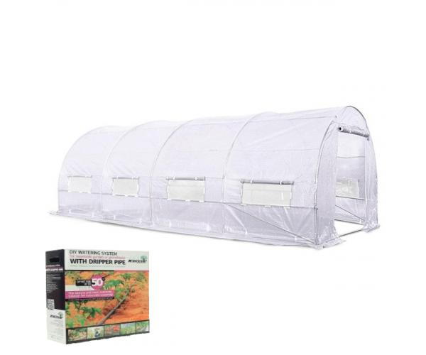 Solar legume alb pentru gradina cu schelet metalic (18mp) + sistem de irigare prin picurare