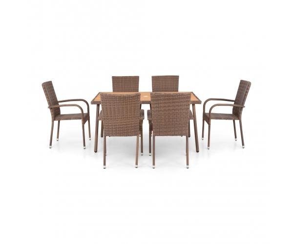 Set mobilier gradina Amaya maro/natur