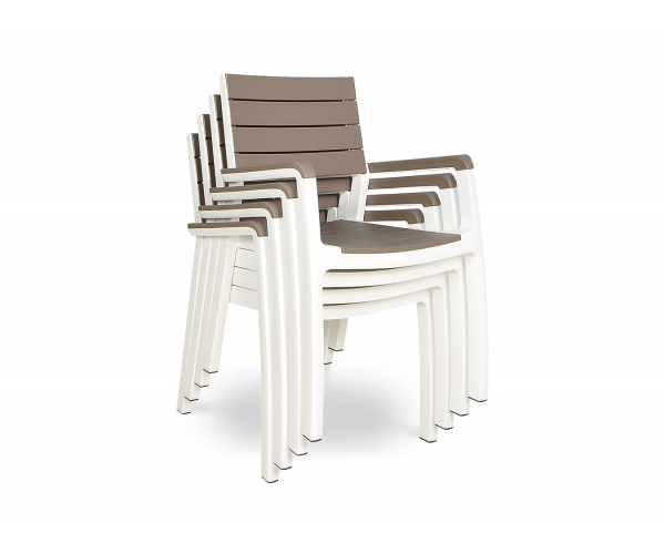 Set mobilier Keter Harmony, 7 piese, cappuccino/ alb