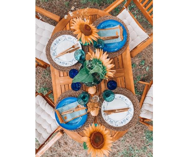 Set mobilier Portofino, lemn acacia, 5 piese, maro