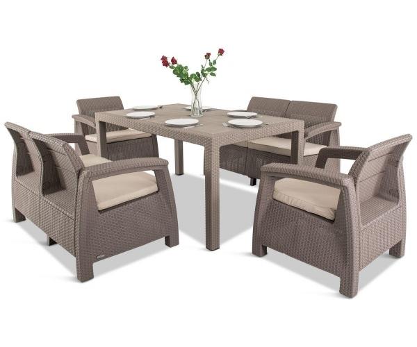 RESIGILAT Set mobilier de gradina CORFU II FIESTA fara masa - Capuccino/ Gri-nisipiu