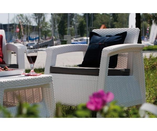 RESIGILAT Set mobilier de gradina Corfu - Canapea+doua fotolii Alb/ Gri-rece