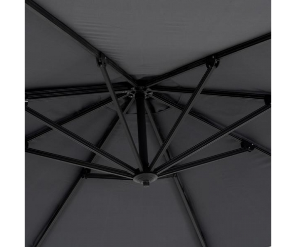 Umbrela rotunda cu baza inclusa, Freda, H.260 D.300, gri