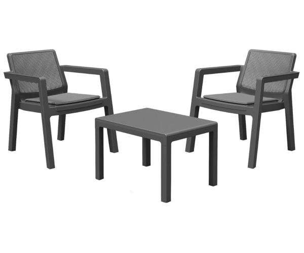 Set mobilier de gradina, Emily Patio, Keter, perne incluse, gri