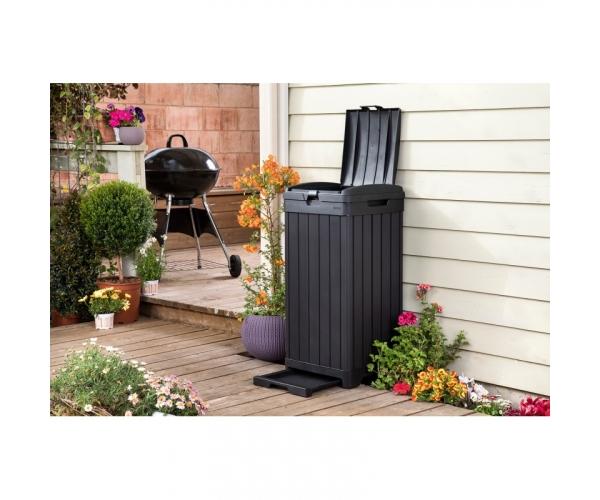 Cos de gunoi exterior, Baltimore Keter, negru