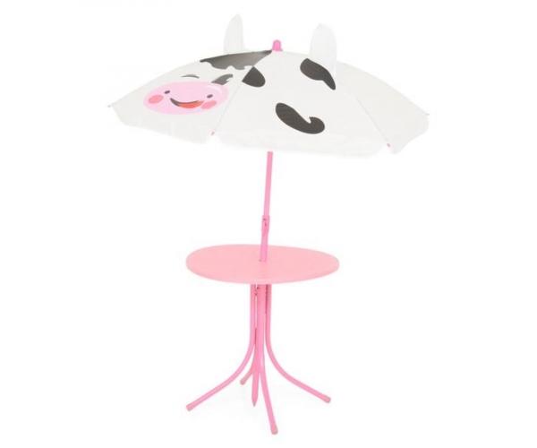 Set mobilier gradina copii, Cow, 2 scaune, masuta si umbrela, roz