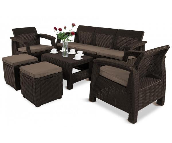Set mobilier de gradina Keter Corfu Max cu tabureti Maro/ Gri-taupe