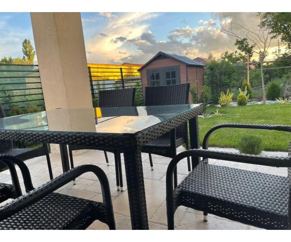 Set mobilier de gradina, Sole, 6 scaune si masa, ratan sintetic, maro inchis