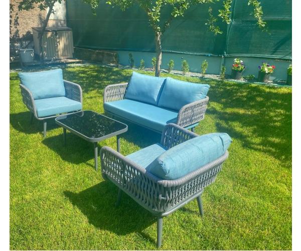 Set mobilier de gradina, Byblos, gri/albastru