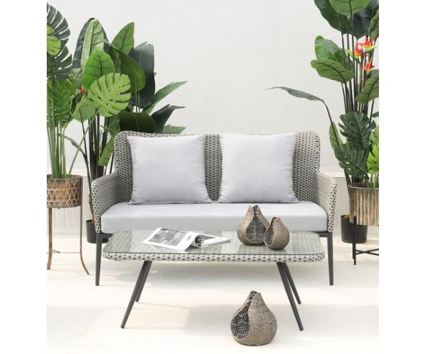 Set mobilier de terasa Kassandra, gri/negru