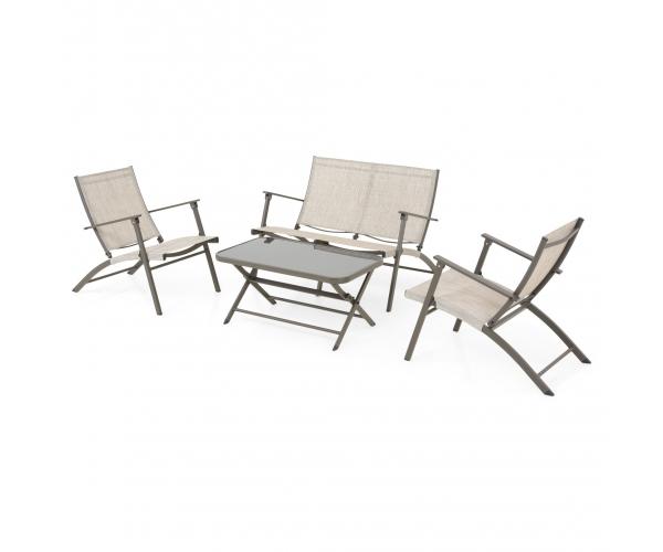Set mobilier de terasa, 4 piese pliabile, WESTSHORE, gri