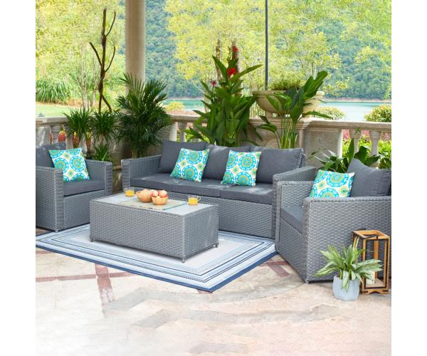 Set mobilier gradina/terasa, Monticello, 2 fotolii, canapea si masuta