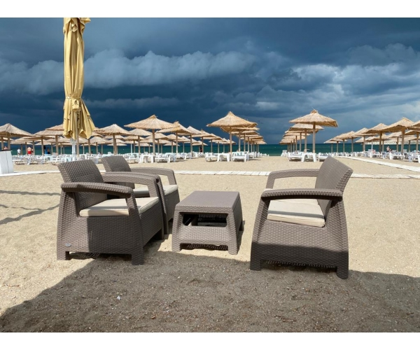 Set mobilier de gradina Corfu - Canapea+doua fotolii+masuta cafea Capuccino/ Gri-nisipiu
