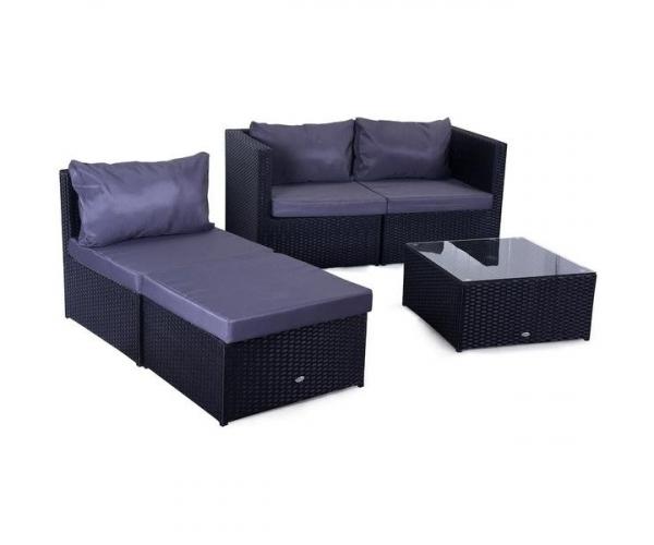 Set mobilier gradina Farlito PREMIUM Negru/ Gri- rece