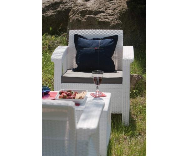 Set mobilier de gradina Corfu - Canapea+doua fotolii+masuta cafea Alb/ Gri-rece