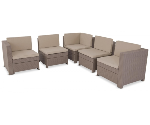 Set mobilier de terasa cu masuta de cafea - Provence Cappuccino/ Gri-nisipiu
