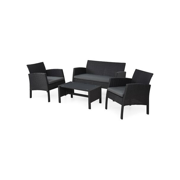 Set mobilier gradina BARCA - capanapea + doua fotolii + o masuta de cafea  Grafit/ Gri-rece