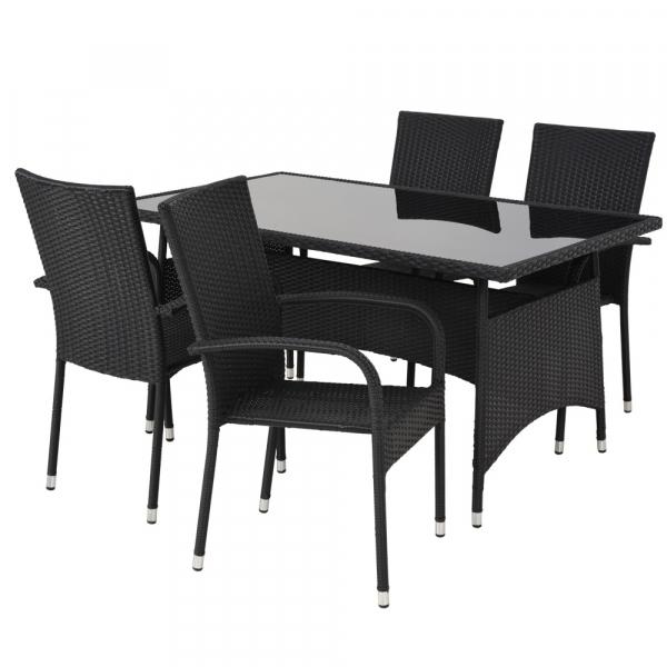 Set mobilier gradina/terasa 4 scaune si masa PRESLEY negru