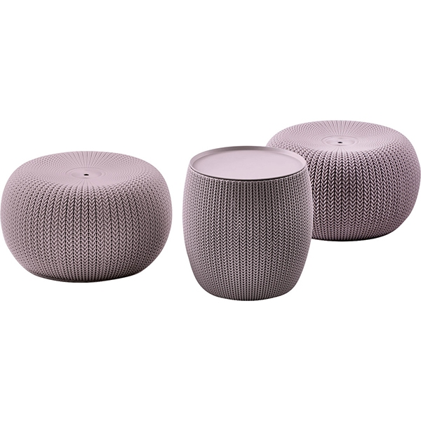 Set mobilier de terasa cu scaune puff si masuta depozitare URBAN KNIT SET Violet/ Gri- noros