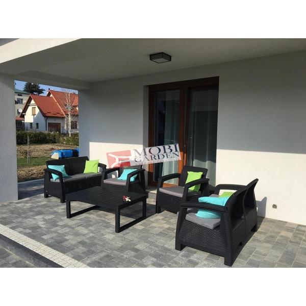 Set mobilier de gradina Curver Corfu Fiesta Lyon Grafit/ Gri-rece