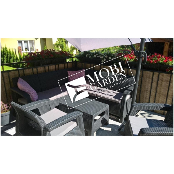 Set mobilier de gradina Curver Corfu Relax Duo Grafit/ Gri-rece
